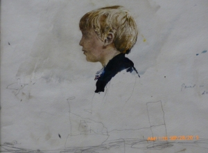 Jamie in Blue Sweater, Study of Jamie by the Fireplace, 1969
