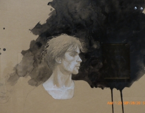 Profile with Black Wash Background,Head, Nuryev (Study #23), 1977