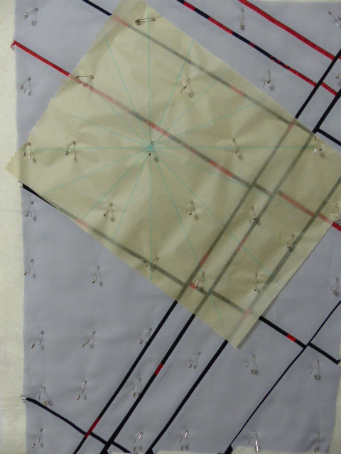 Marking spokes for spider web quilting