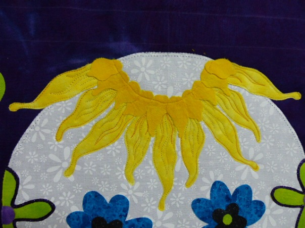 Quilting the sunflower