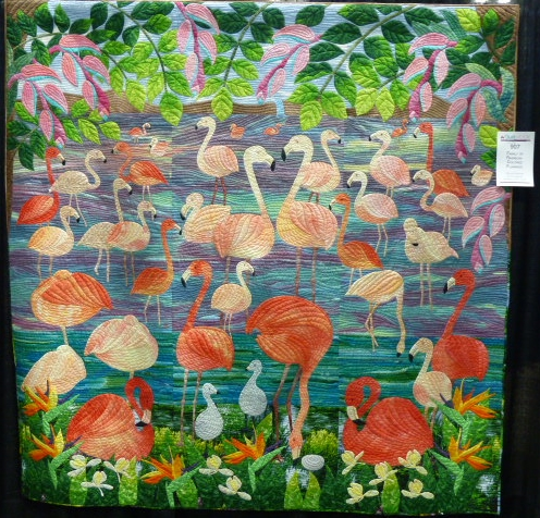 Family of Rainbow-Colored Flamingos, 80x80