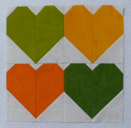 Four 5-inch heart blocks