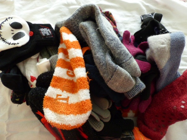 Winter/holiday sock drawer contents