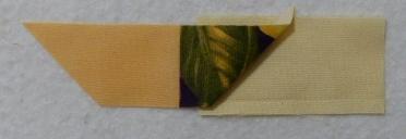 Fold under angled edge, stitch