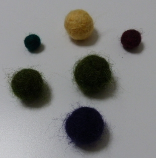 Felted balls, drying overnight