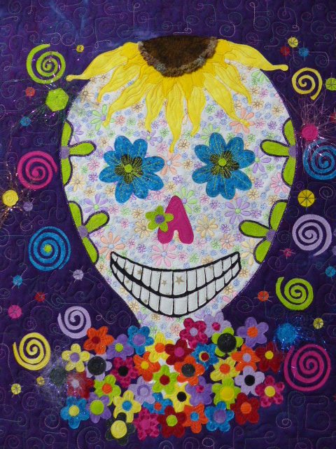 Self-Portrait/Sugar Skull, quilted/embellished